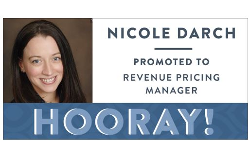 Congratulations Nicole Darch, Promoted to Revenue Pricing Manager