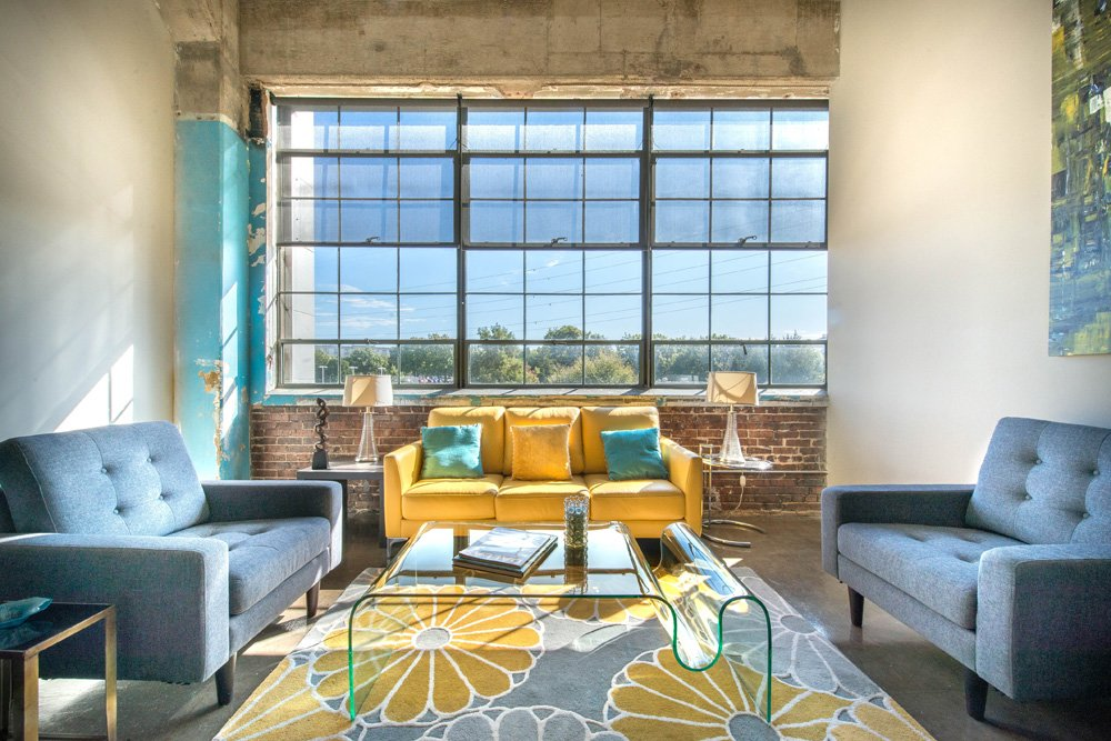 This is a living room inside the Lofts